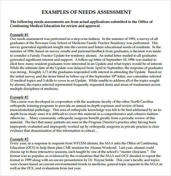 Needs Assessment - 8+ Free Download For Pdf , Word