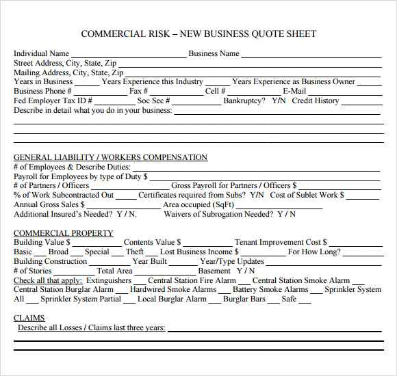 new business quote sheet