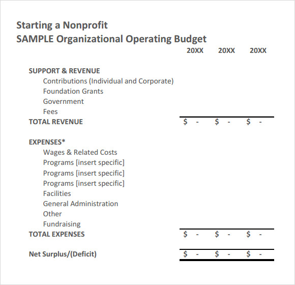 Sample Non Profit Budget Template - 6+ Free Document Download in ...
