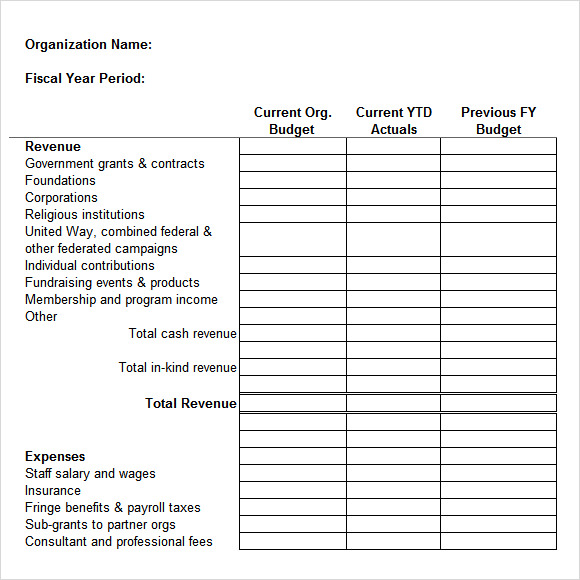 Sample Non Profit Budget Template - 6+ Free Document Download In