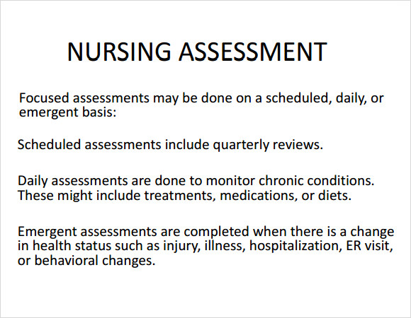Sample Nursing Assessment – 6+ Documents In Pdf, Word