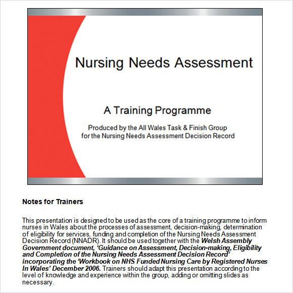 nursing needs assessment ppt