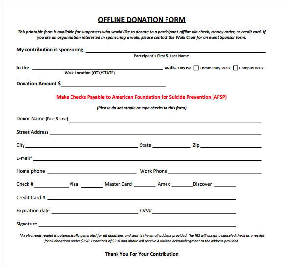 Donation Form Template | Sample Donation Sheet 5 Documents In Word Pdf