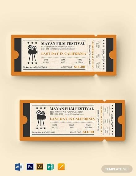 old school movie ticket template