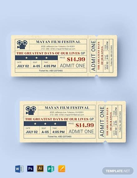 old time movie ticket template