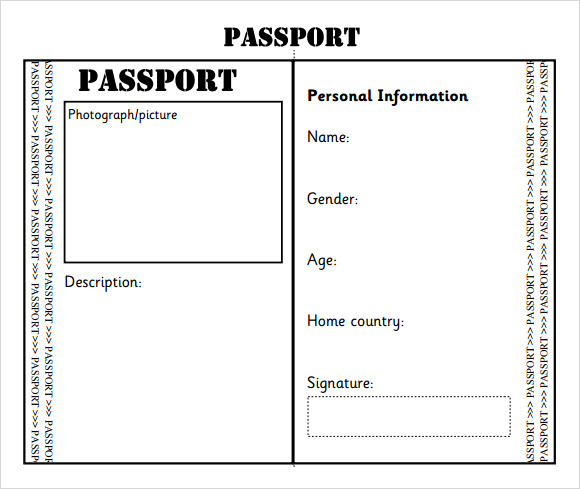Vibrant image with regard to printable passport template