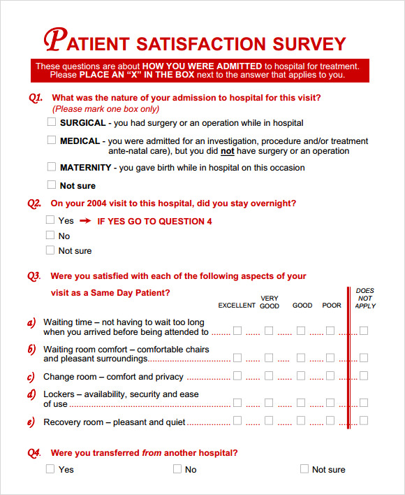 patient satisfaction survey form