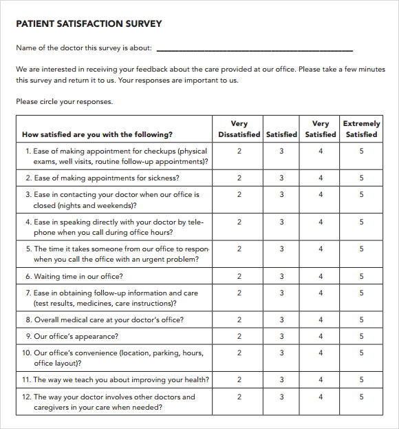 Patient Satisfaction Survey   Download Free Documents In Pdf