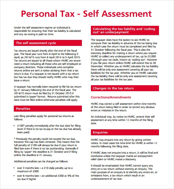 Personal Tax Self Assessment Template