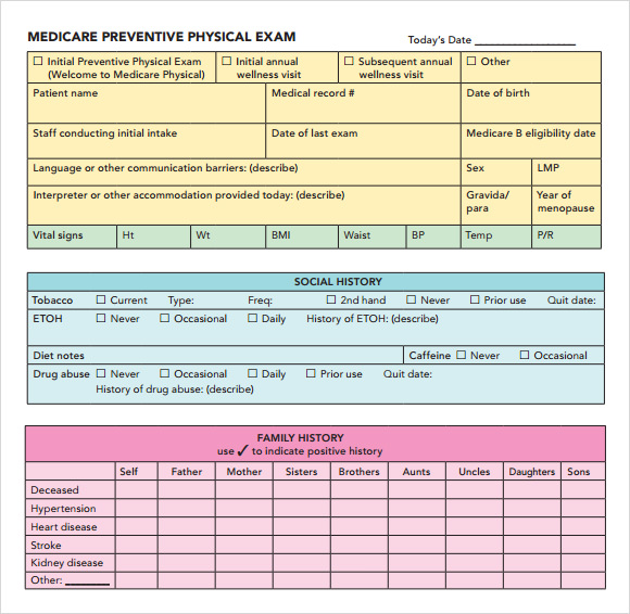 Health Physical Form Template   Sle Health Assessment 6 Documents In Pdf