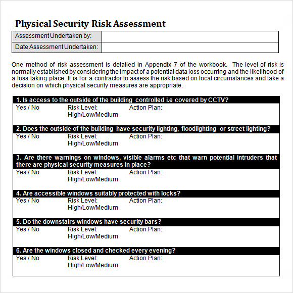 10 sample security risk assessment templates pdf word for Physical security survey template