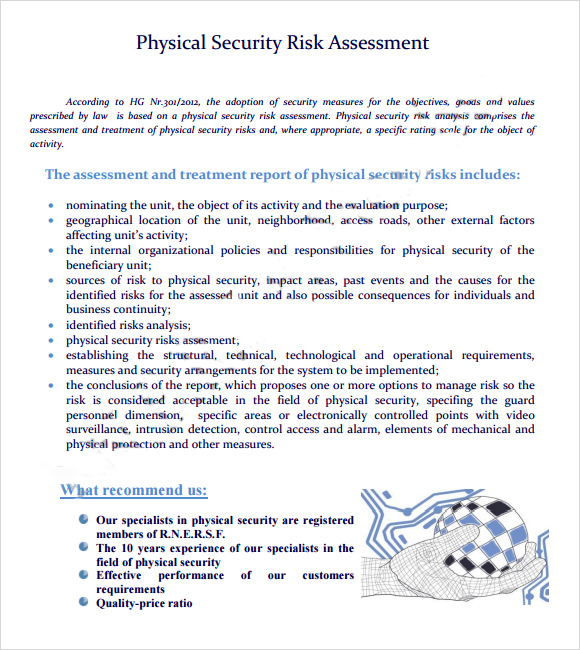 7 security risk assessment samples sample templates for Physical security survey template