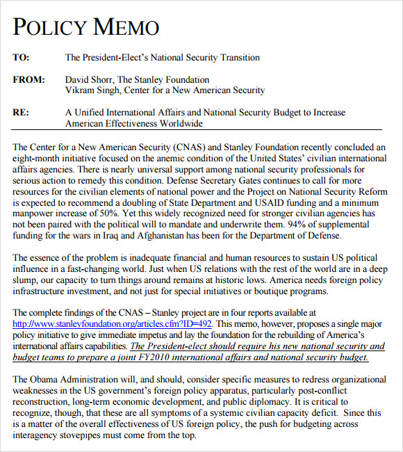 Sample Policy Memo Writing Samplepolicy Memo Examples Of Policy