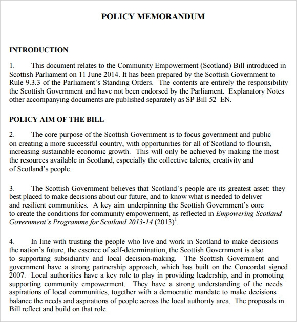 Policy Memo Template 9 Download Free Documents In Pdf