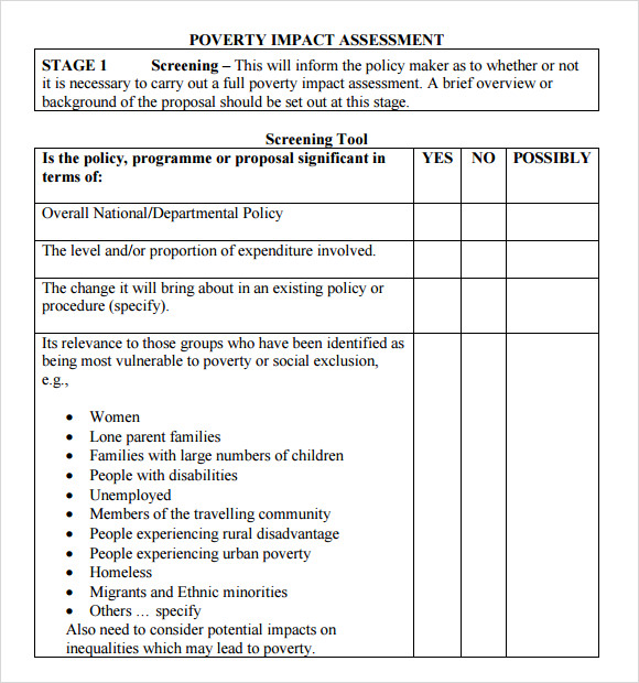 Assessment Sample Poverty Impact Assessment Template Sample