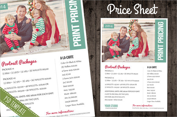 price sheet list psd template