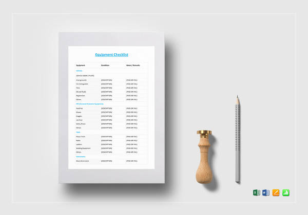 printable equipment checklist template