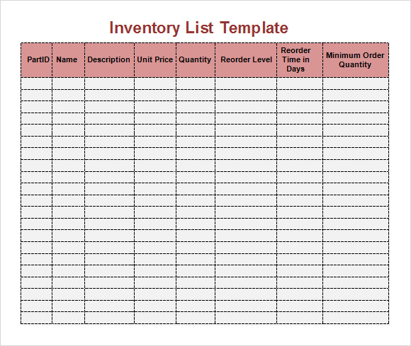 Sample Inventory List Template 7 Free Documents Download in – Inventory Checklist Template