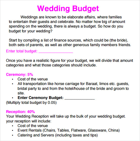 Wedding Budget Allocation  Bernit Bridal