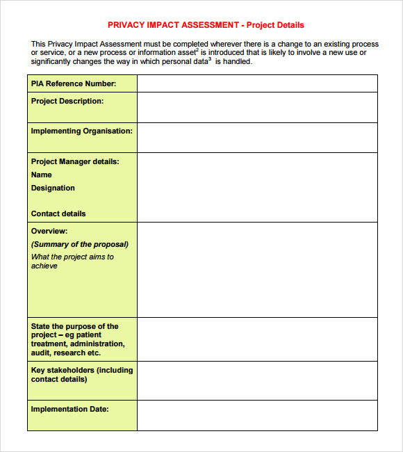 Privacy Impact Assessment Template 9 Sample Impact Assessment Templates Sample Templates