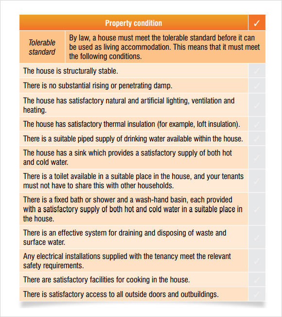 private landlords checklist