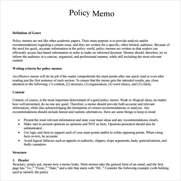 Policy Memo Example  Policy Memo Templates Free Sample Example