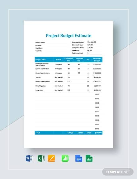 project budget estimate template