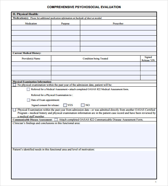 Psychosocial Assessment Template Sample – Sample Psychosocial Assessment