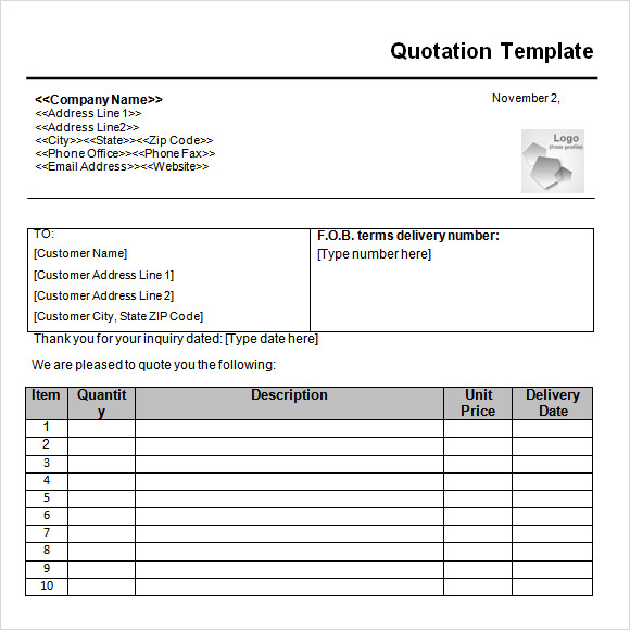 Quotation Template   Documents In Pdf Word Excel