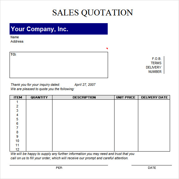 sample quotation template .