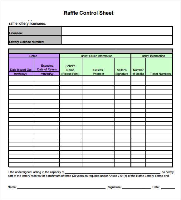 Raffle Sheet Template   Download Free Documents In Pdf Word