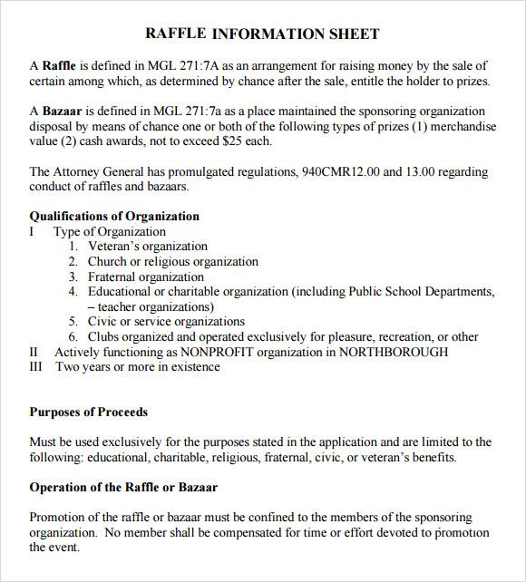 12  sample raffle sheet templates  u2013 pdf  word  excel
