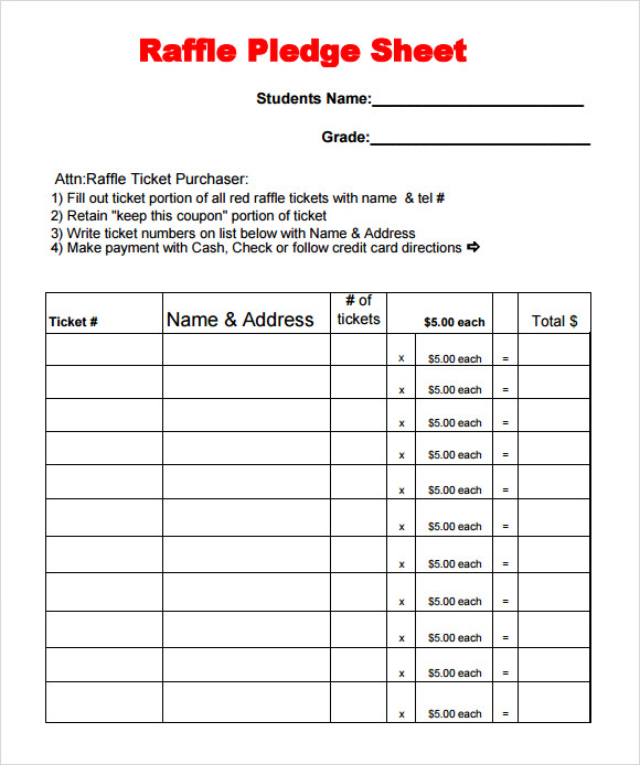 Sample Raffle Sheet Raffle Ticket Control Sheet Template Sample