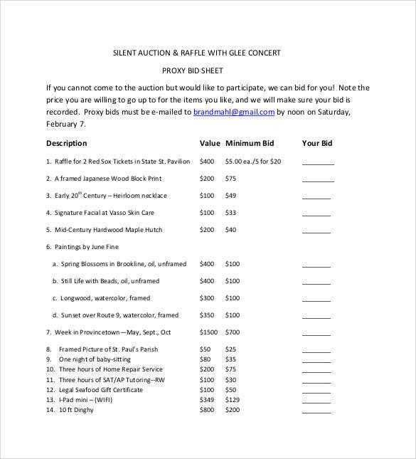 raffle silent auction bid sheet