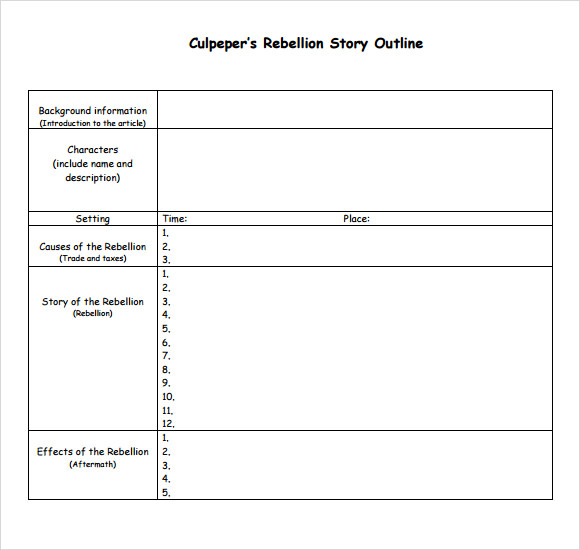 Story Outline Sample 9 Documents in PDF Word – Outline Template