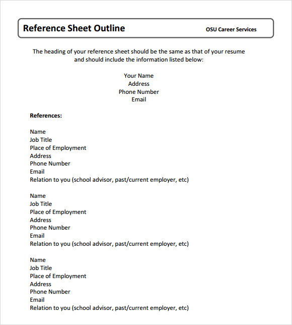 Reference Sheet Template  Resume Reference Sheet