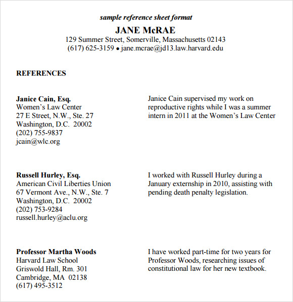 reference sheet format