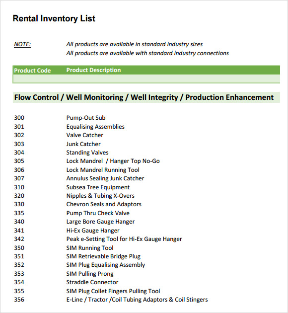 A List Rentals: 13+ Rental Inventory Templates