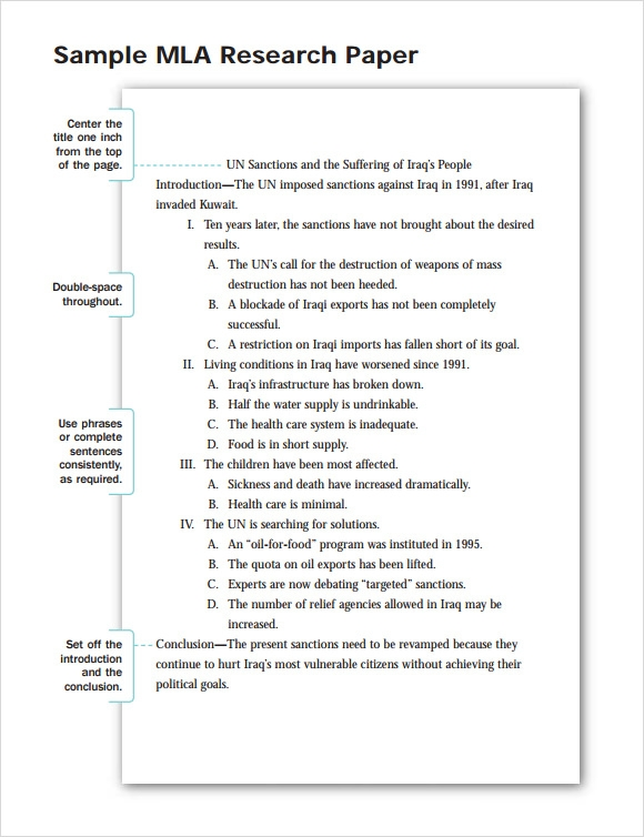research paper outline template mla