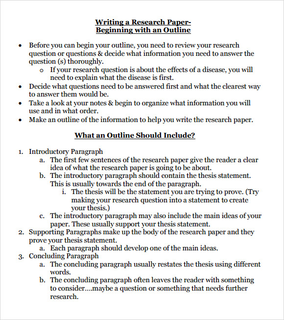 Research Paper Outline Template   Download Free Documents In Pdf