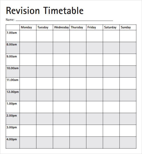 Blank Weekly Timetable Template