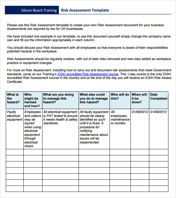 Sample Risk Assessment Template   Free Documents In  Word