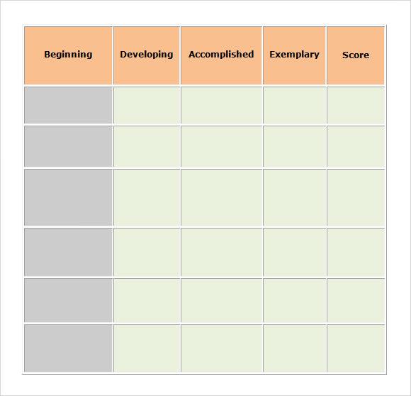 Sample Blank Rubric 9 Documents in Word PDF – Blank Rubric Template