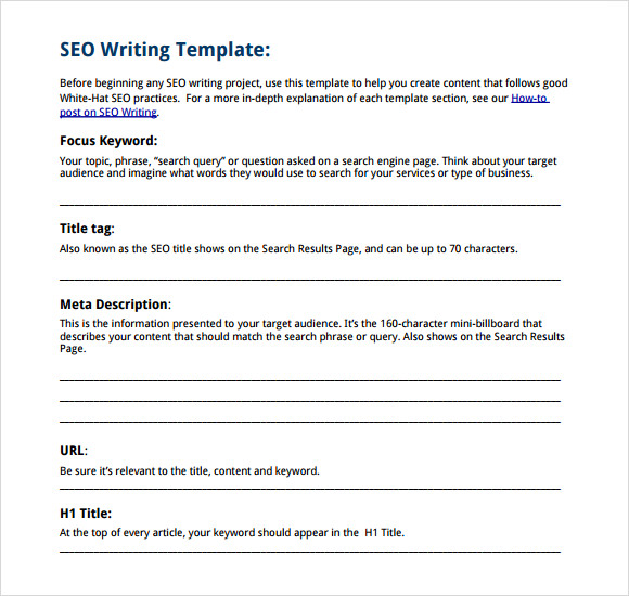 sample writing template