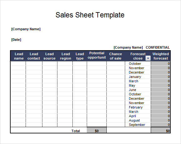 Sales Sheet Sample - 6+ Documents In Pdf, Word, Excel