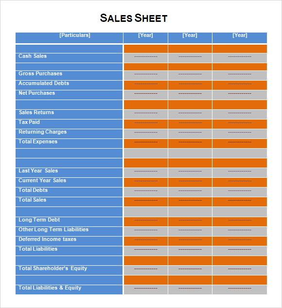 Sales Sheet Templates Vosvetenet – Sales Sheets Templates