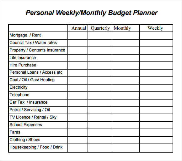 sample budget planner template