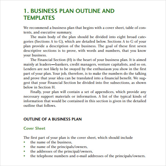 Business Plan Outline Template   Download Free Documents In