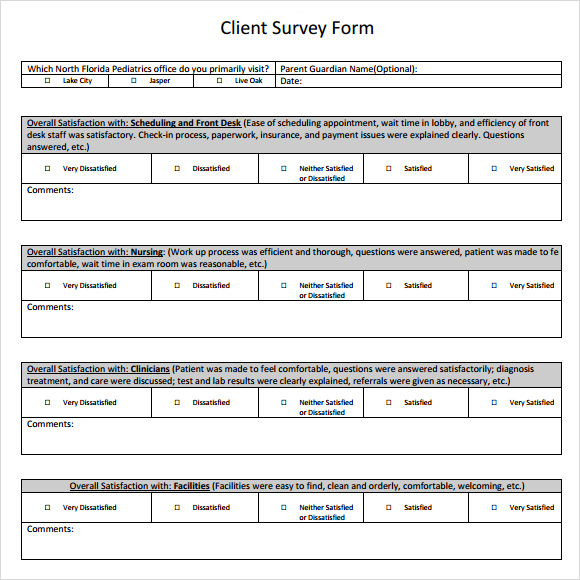 Sample Client Satisfaction Survey   Documents In Pdf