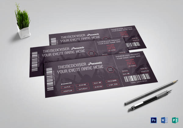 sample concert ticket template word